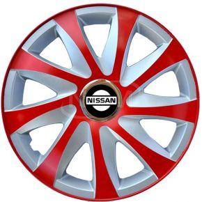 """Dísztárcsa NISSAN 15"""", DRIFT EXTRA piros-ezüst 4db"""
