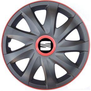 """Dísztárcsa SEAT 14"""", KANDO RACE MATT FEKETE piros 4db"""