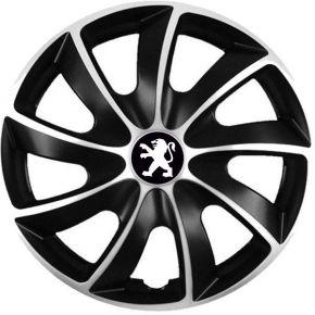 """Puklice pre Peugeot 14"""", Quad bicolor, 4 ks"""